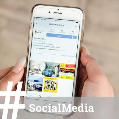 Online-Marketing funktioniert. Und wie! Wir sind für unsere Kunden in den sozialen Medien. Fast rund um die Uhr. Z.B. für Autohaus Mucz – in Facebook und auf Instagram. Neuwagenverkauf, KfZ-Werkstatt oder Stellengesuch. Erfolgreich durch mehr Aufmerksam und höhere Reichweite - Klick für Klick.